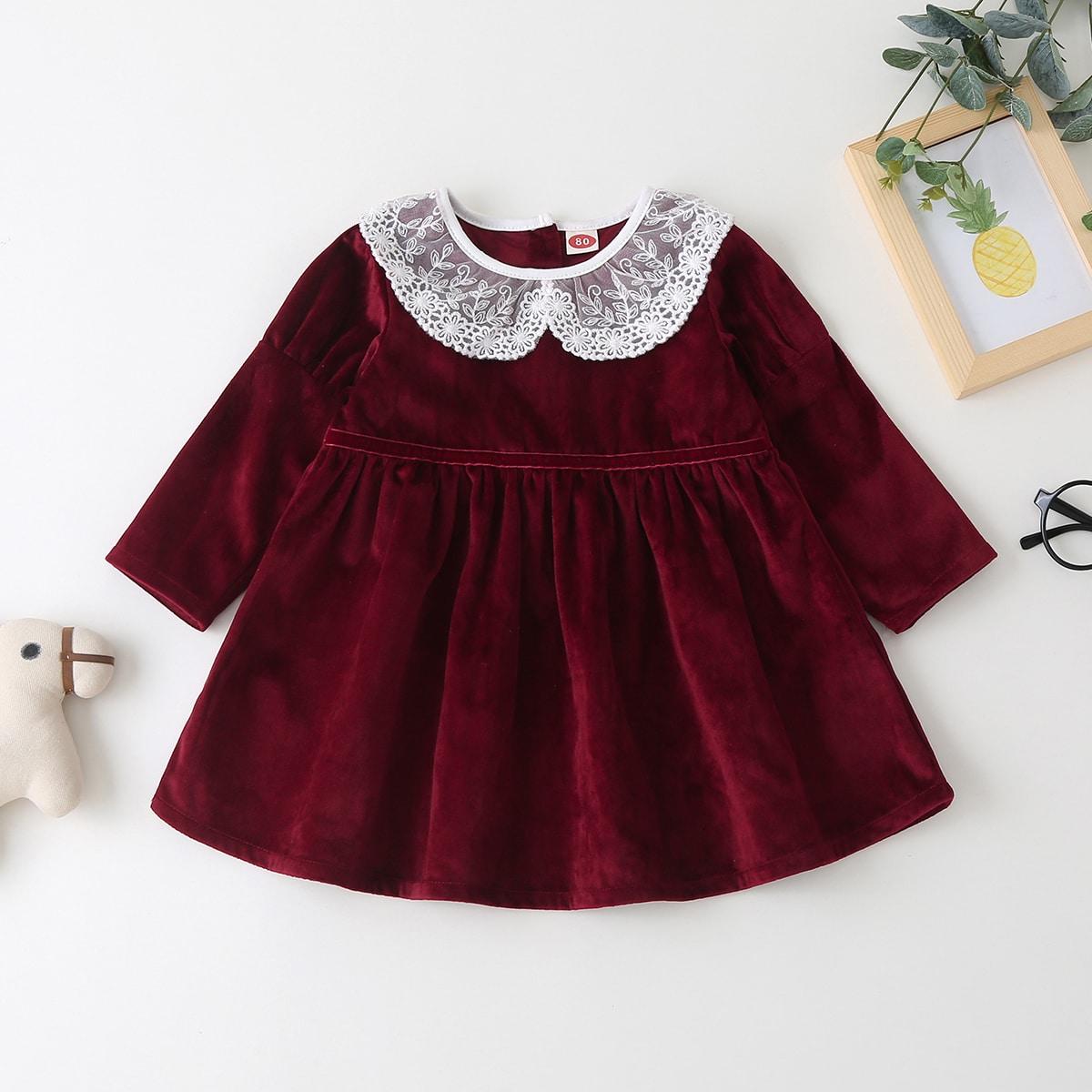 Бархатное платье с кружевным воротником для девочек от SHEIN