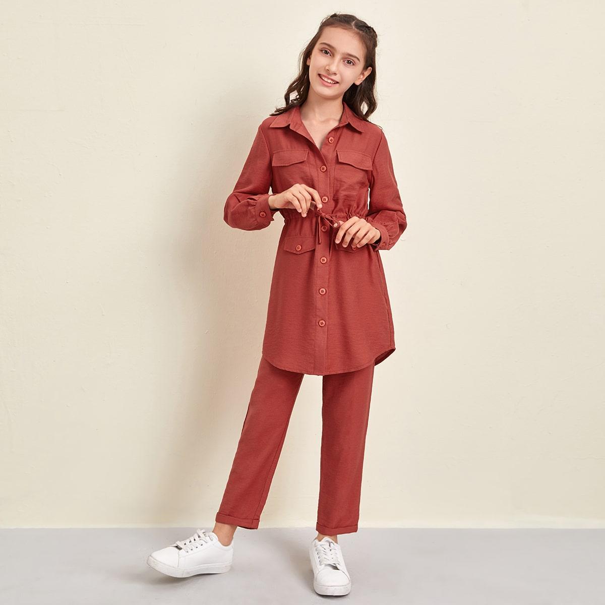 Длинная блуза на кулиске и брюки для девочек
