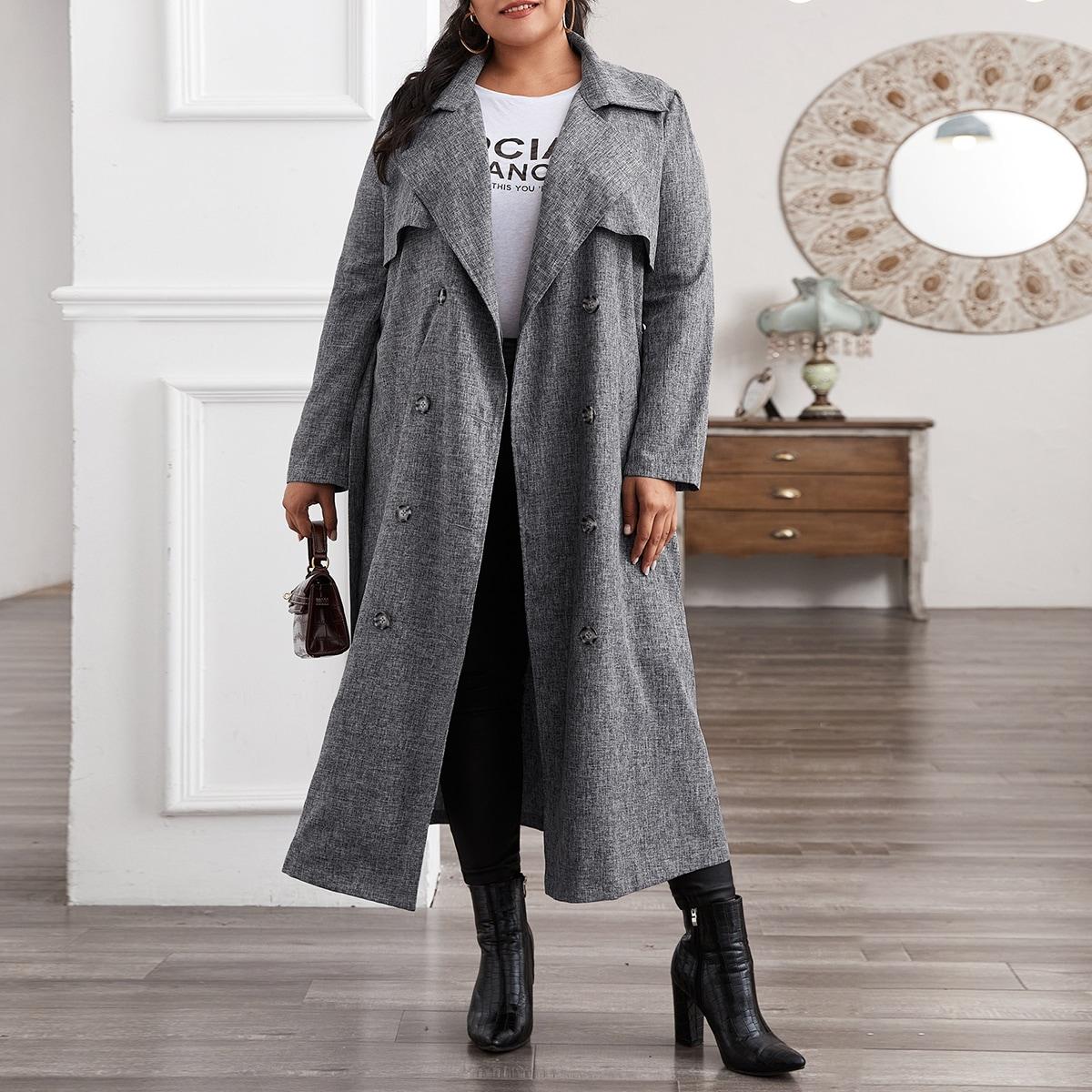 Двубортное пальто тренч размера плюс с поясом и льняным эффектом