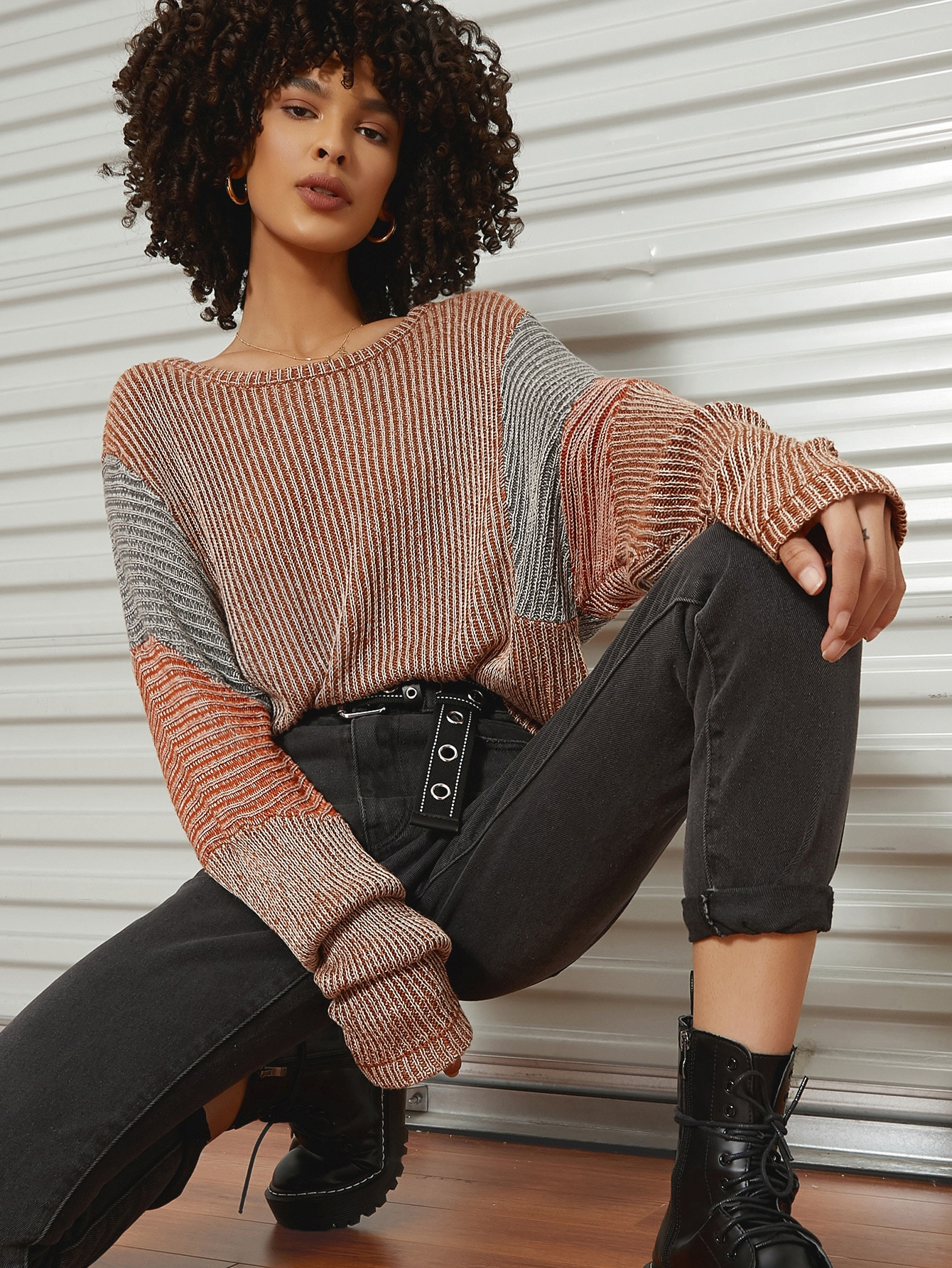 Drop Shoulder Colorblock Sweater thumbnail