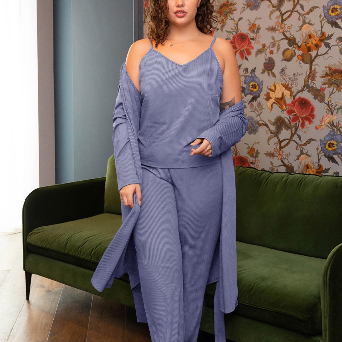 Вязаная пижама из майки и брюк в рубчик размера плюс без халата