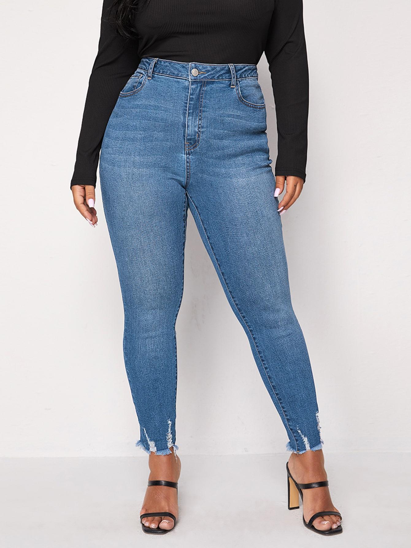 Plus Ripped Raw Hem Skinny Jeans thumbnail