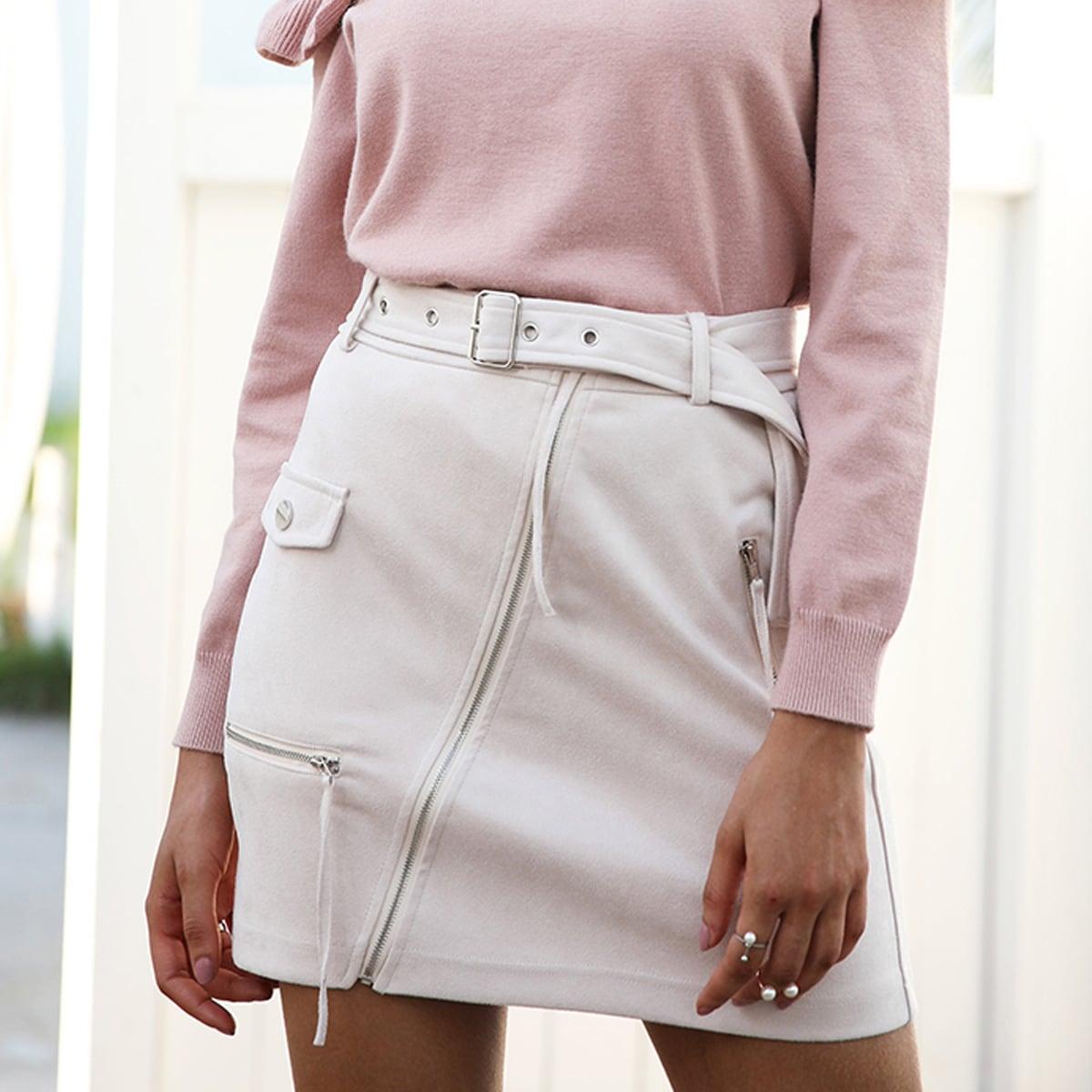 Buckle Belted Zip Up Suede Skirt