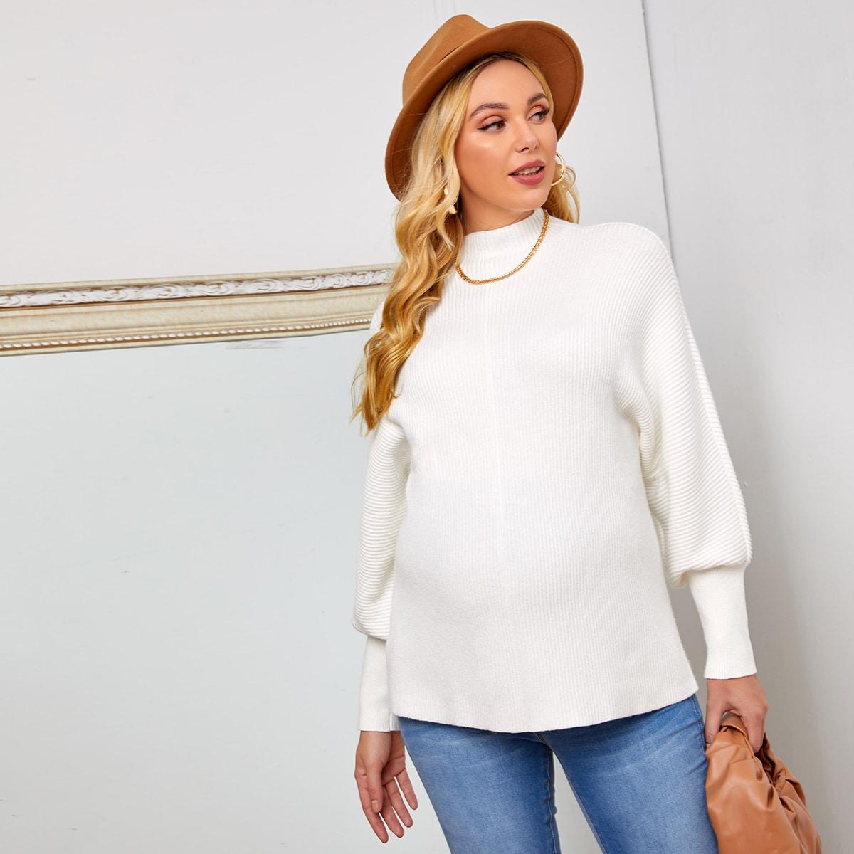 Вязаный свитер в рубчик с рукавами фонариками для беременных