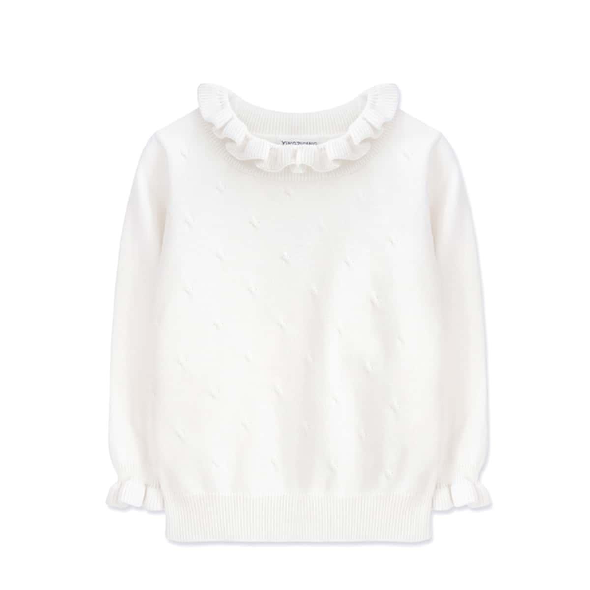 Оборка одноцветный повседневный свитеры для девочек