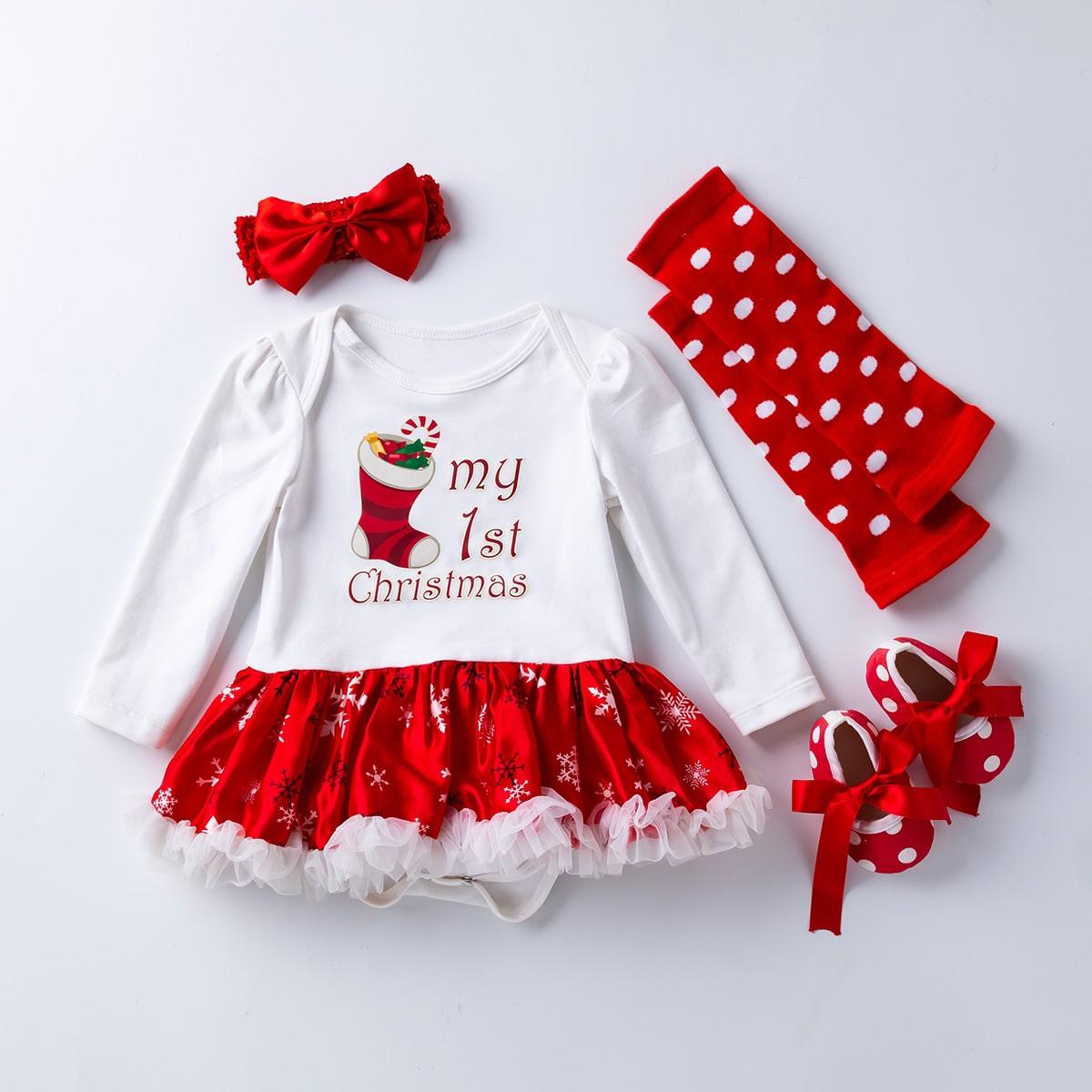 Платье-боди с рождественским принтом для девочек 4шт