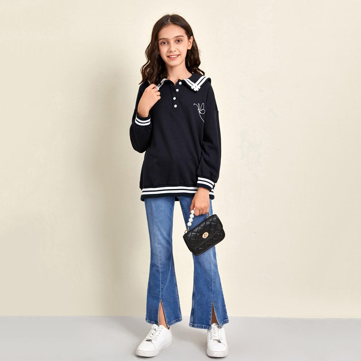 Оригинальный свитшот с вышивкой для девочек