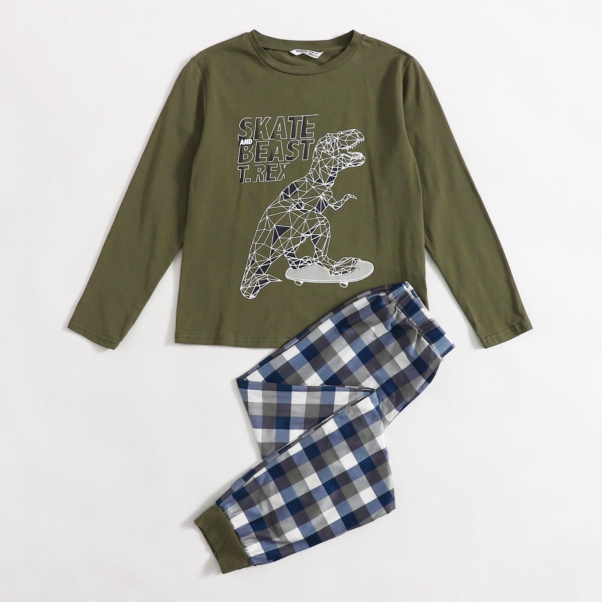 Пижама в клетку с принтом динозавра для мальчиков
