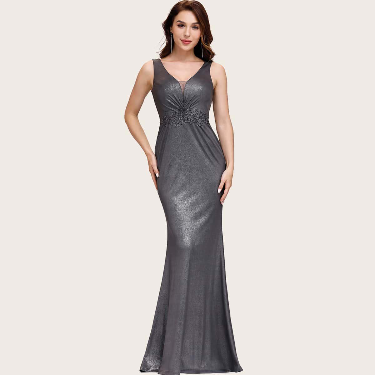 Mermaid Hem Applique Glitter Prom Dress