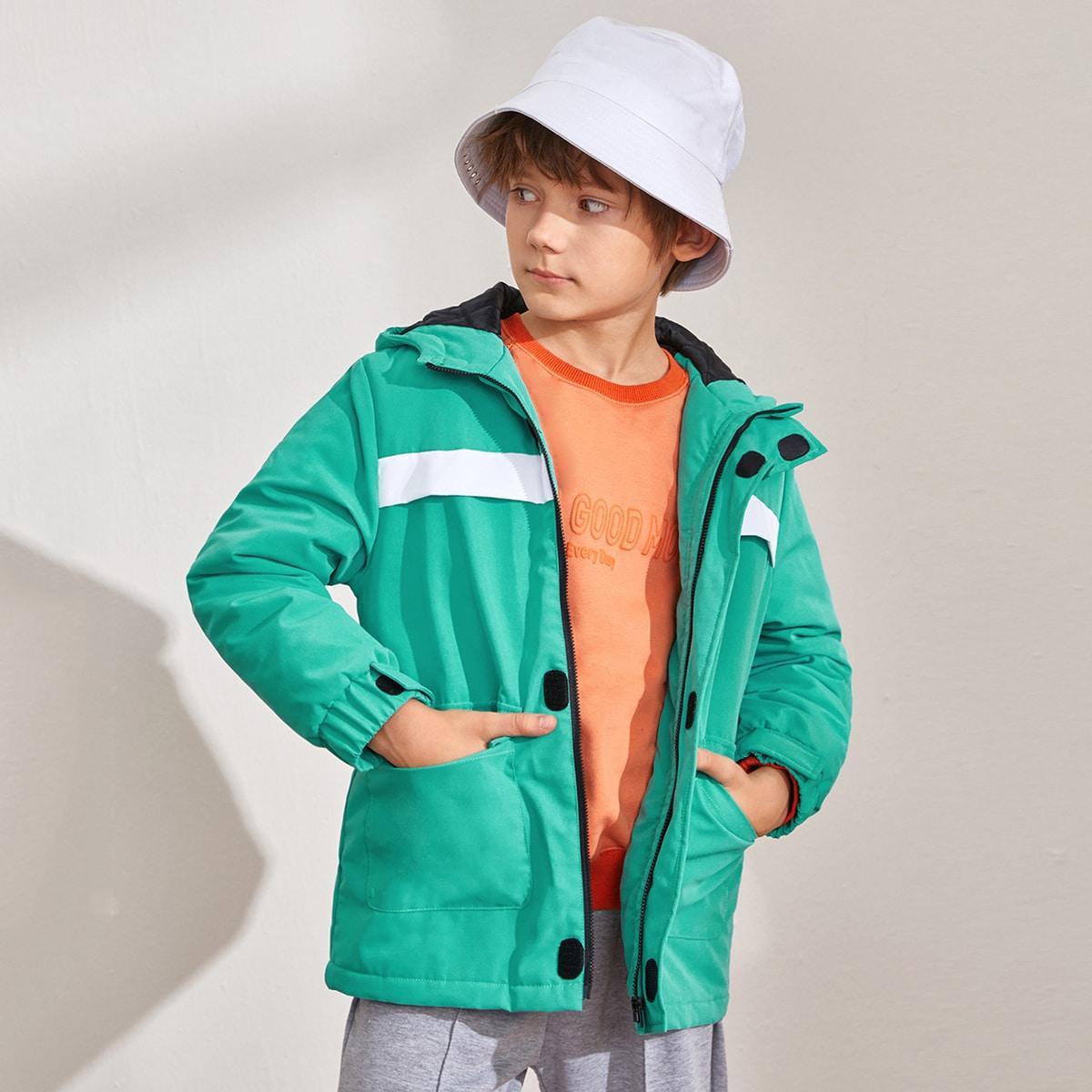 на молнии Контрастный цвет Повседневный Пальто для мальчиков