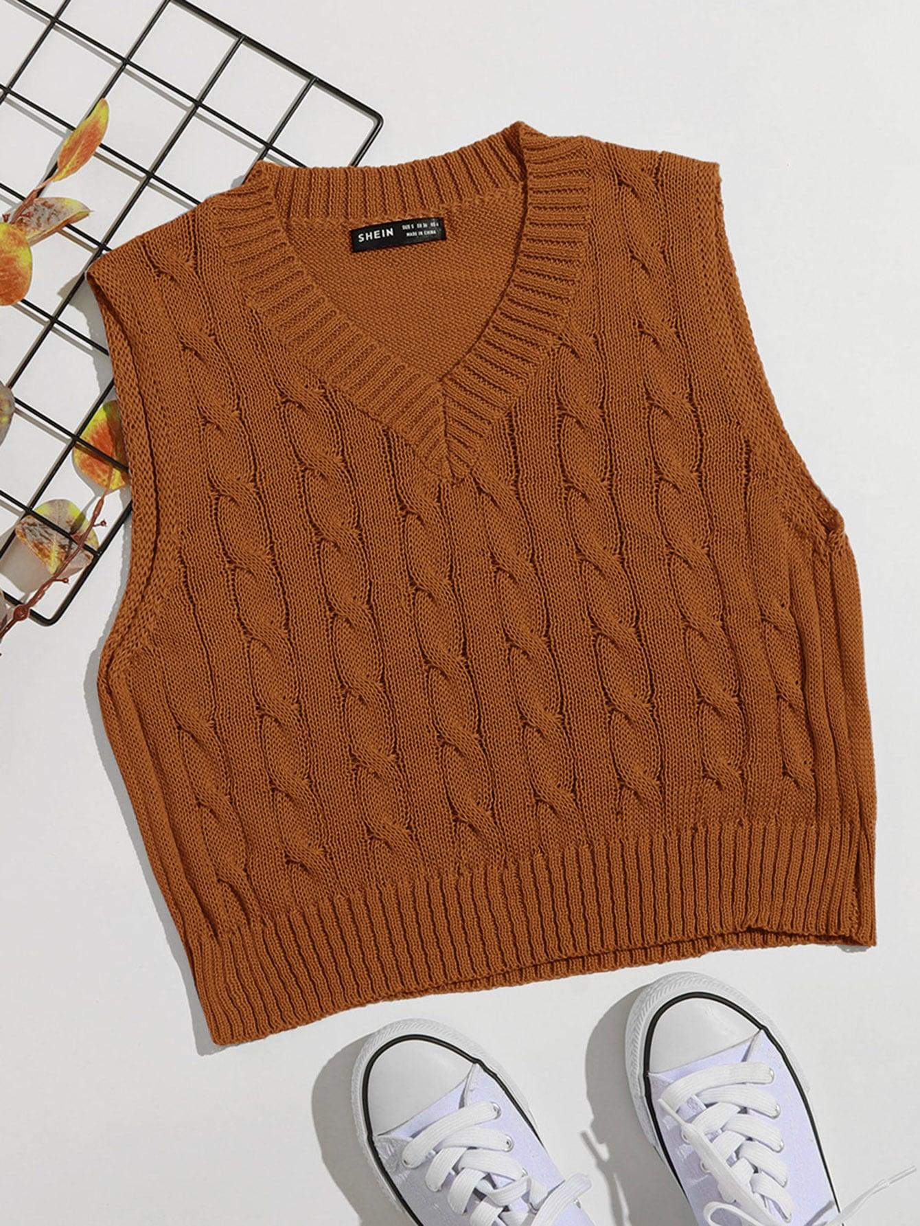 V Neck Cable Knit Sweater Vest thumbnail