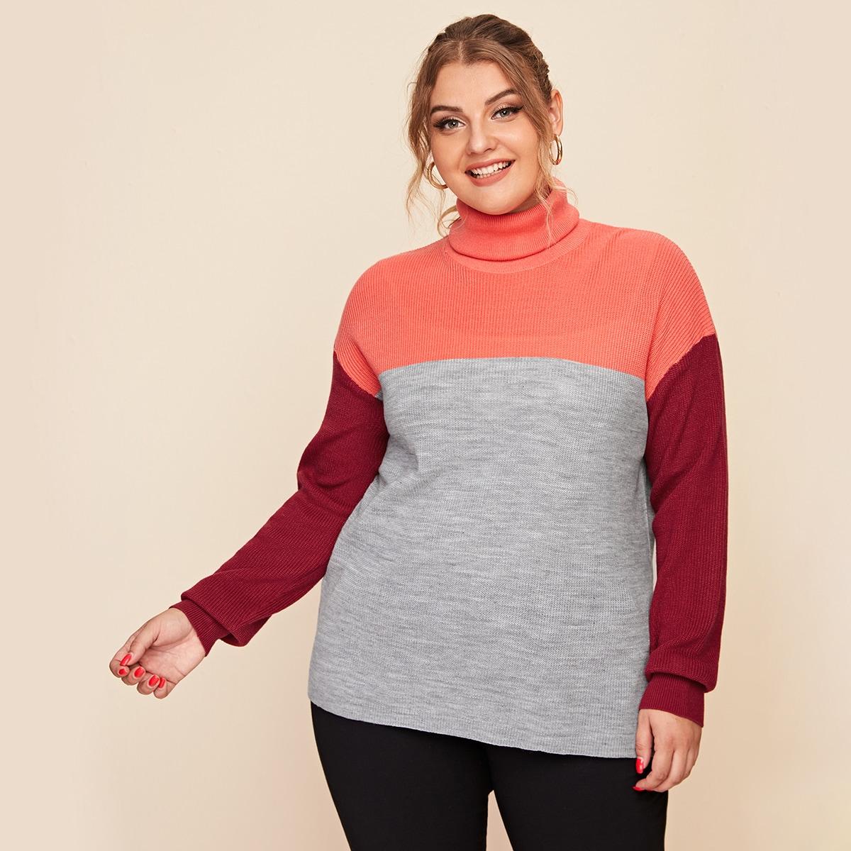 Шнуровка контрастный цвет повседневный свитер размер плюс