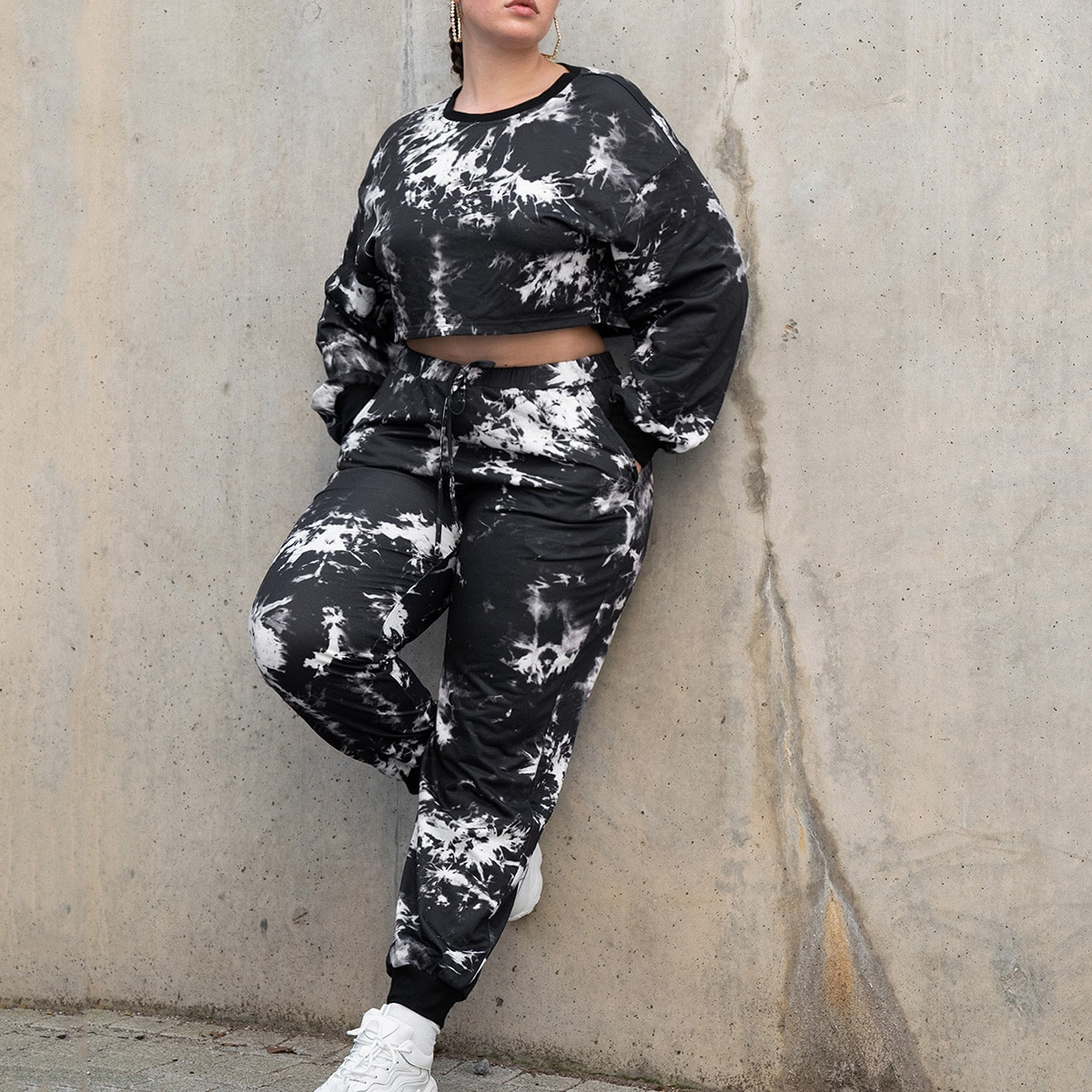 Plus Tie Dye Pullover & Sweatpants Set, SHEIN  - buy with discount