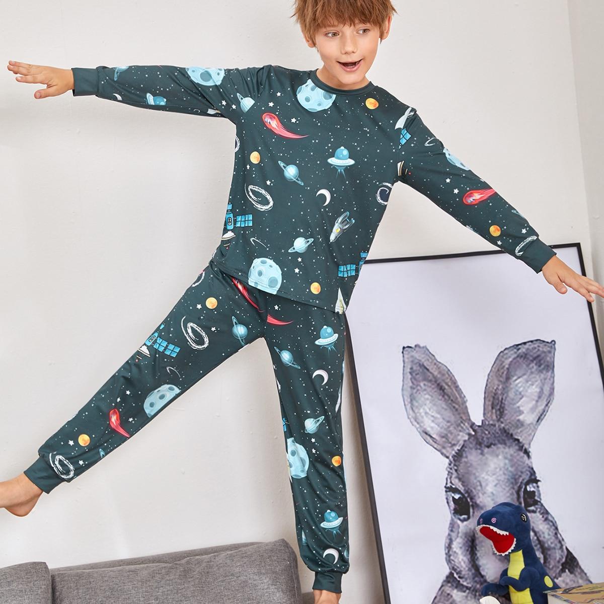 Принт космос Повседневный Домашняя одежда для мальчиков