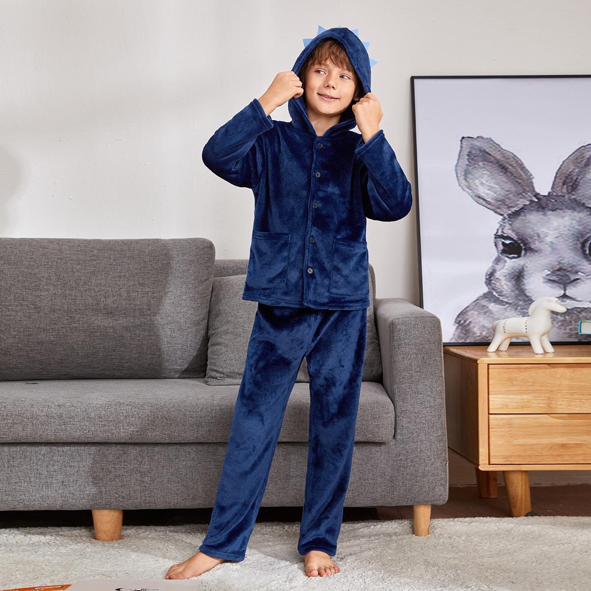 Плюшевая пижама с пуговицами для мальчиков