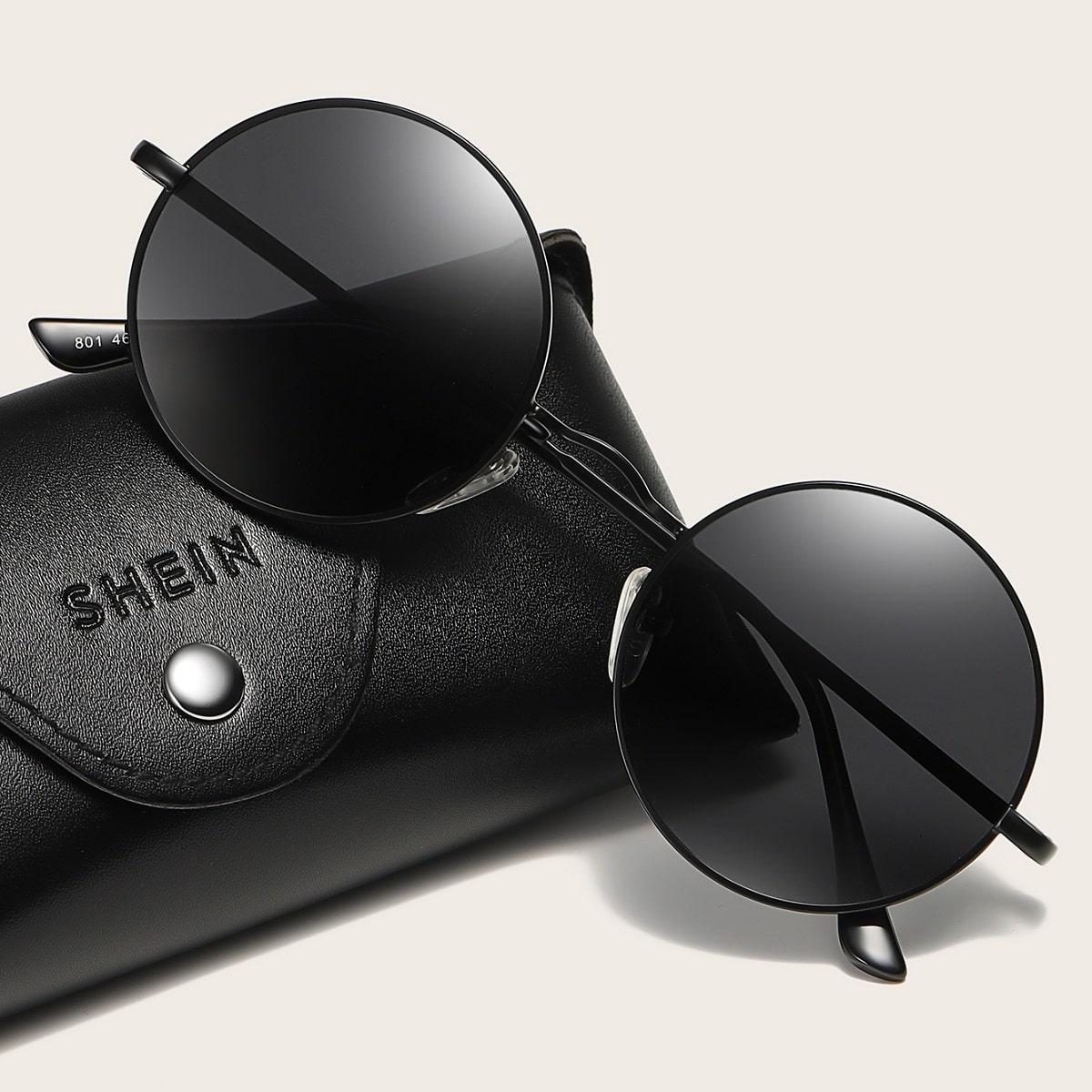 Круглые солнцезащитные очки в металлической оправе с футляром