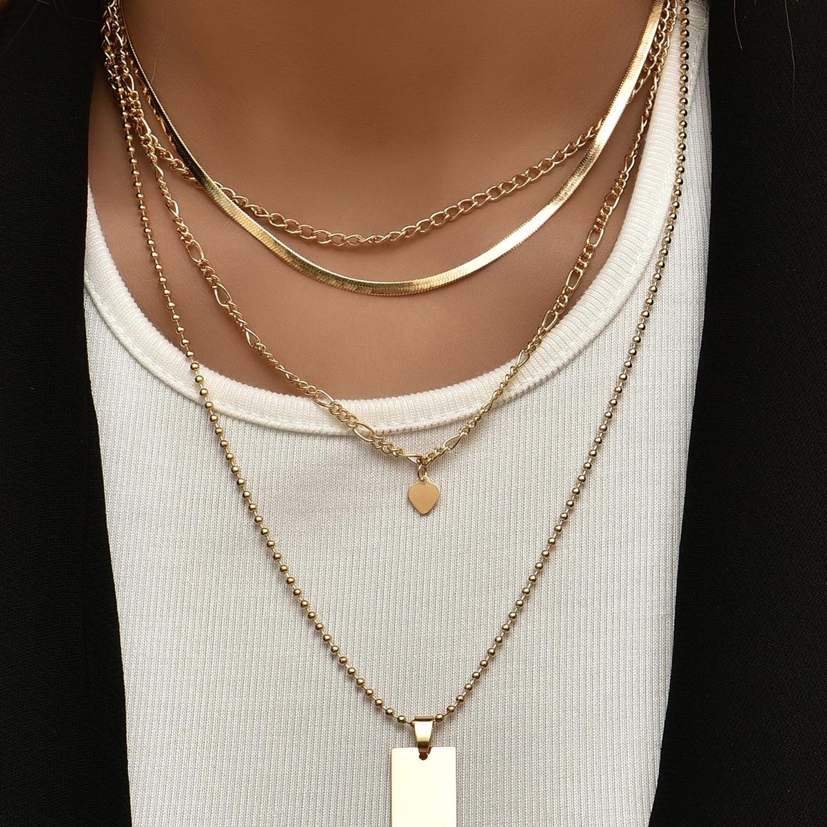 2 Stücke Halskette mit Herzen Anhänger