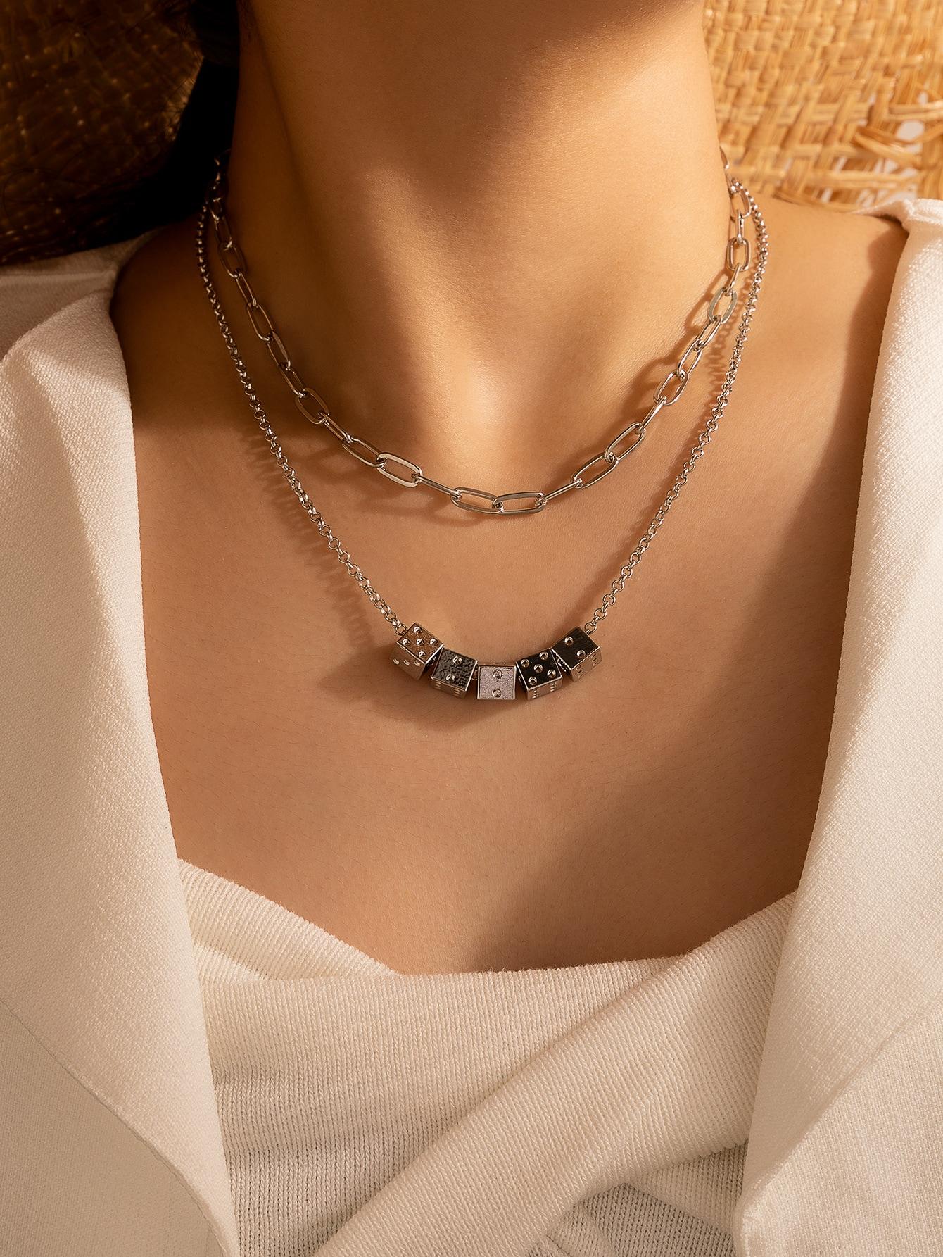 Dice Decor Layered Necklace thumbnail