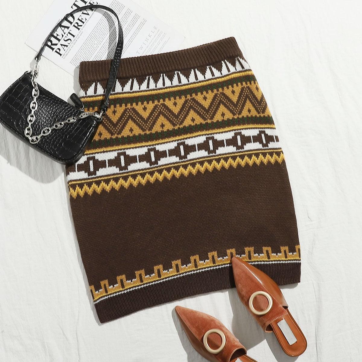 Этнический стиль повседневный трикотажные юбки размер плюс