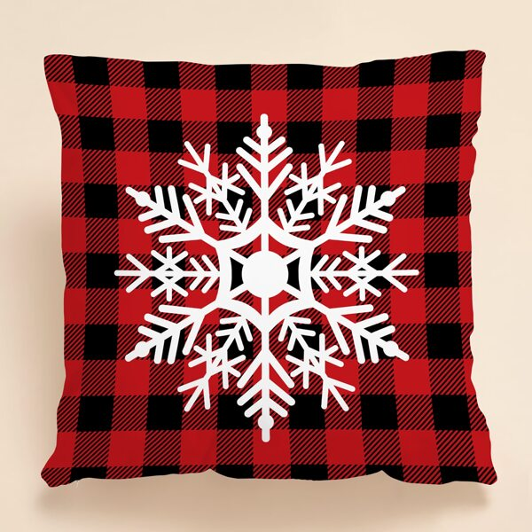 Christmas Snowflake Print Cushion Cover Without Filler, Multicolor