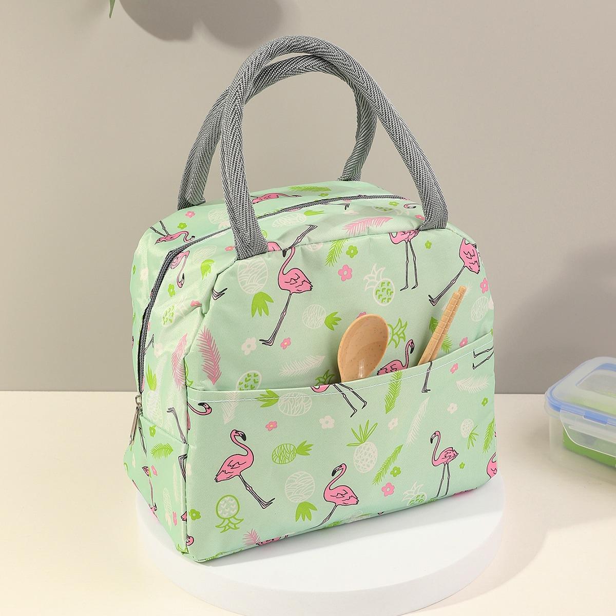 Изоляционная сумка для обеда с принтом фламинго