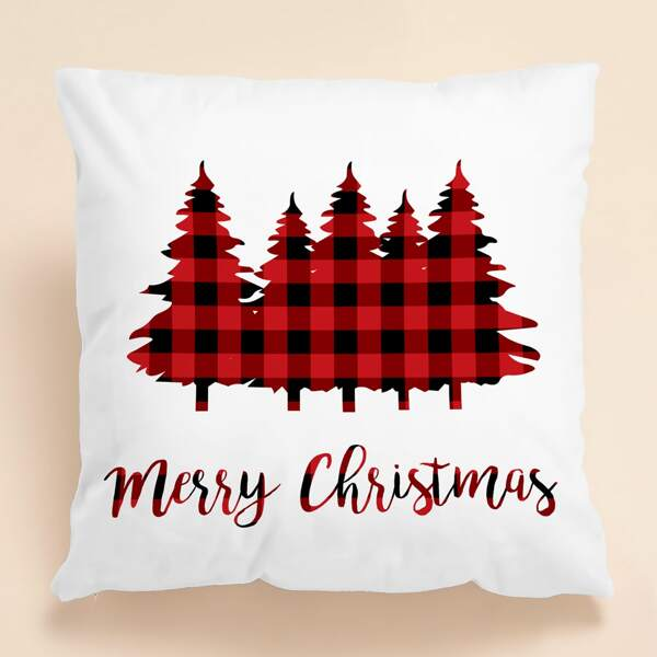 Christmas Tree Print Cushion Cover Without Filler, White