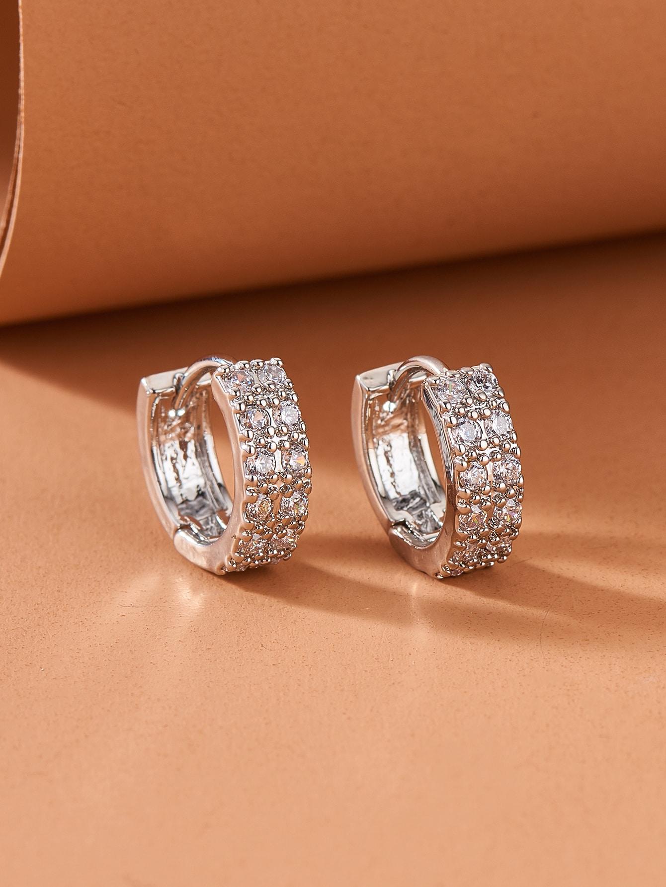 Rhinestone Decor Hoop Earrings thumbnail