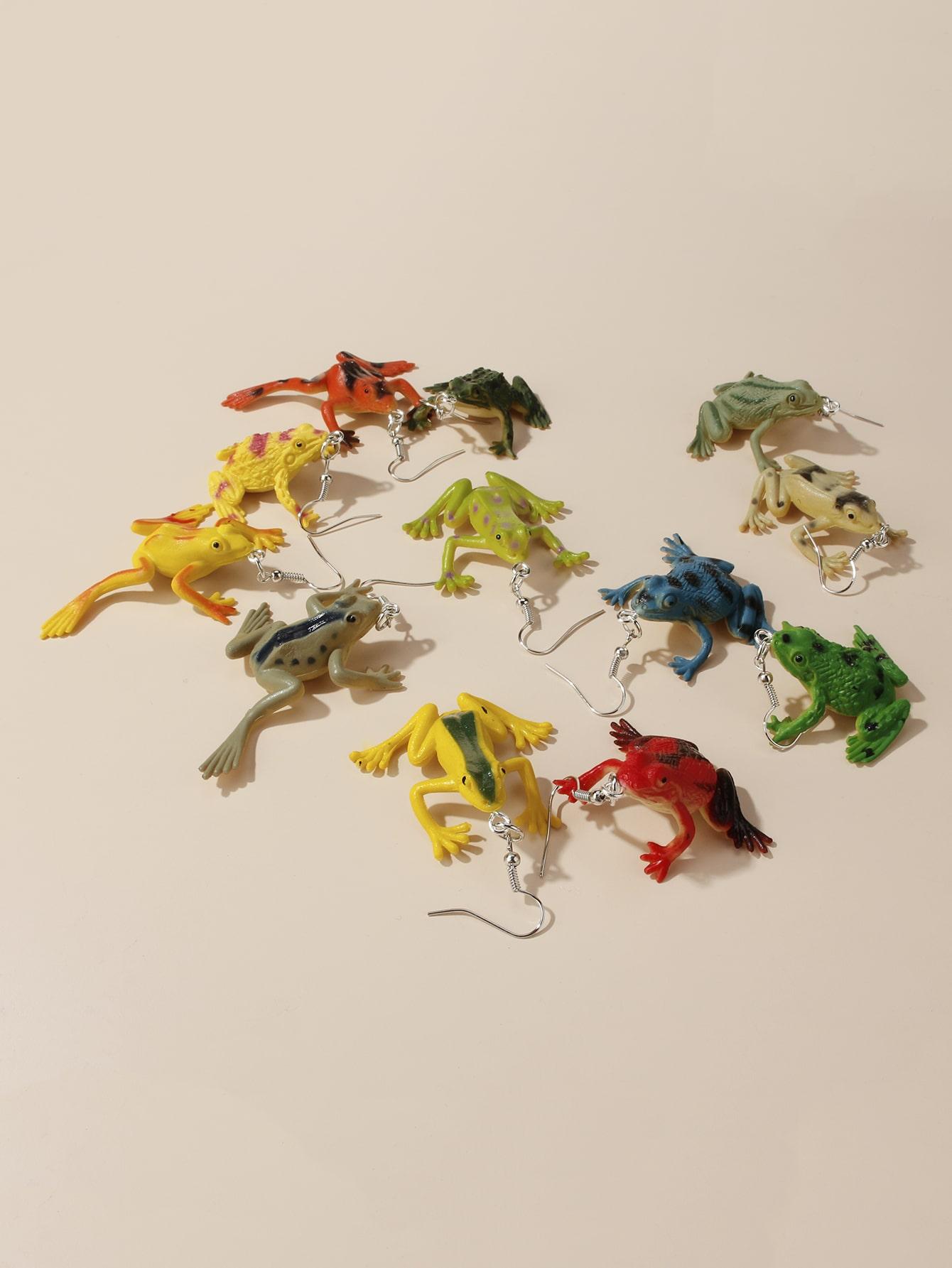 6pairs Frog Charm Drop Earrings thumbnail