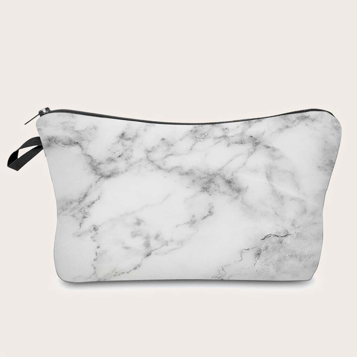 Косметическая сумка с мраморным узором