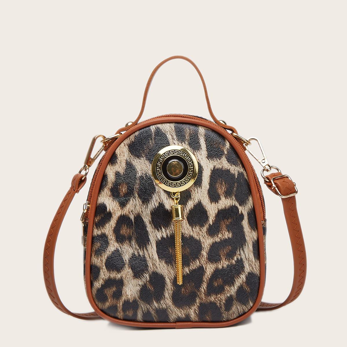 Рюкзак с леопардовым принтом и металлической бахромой