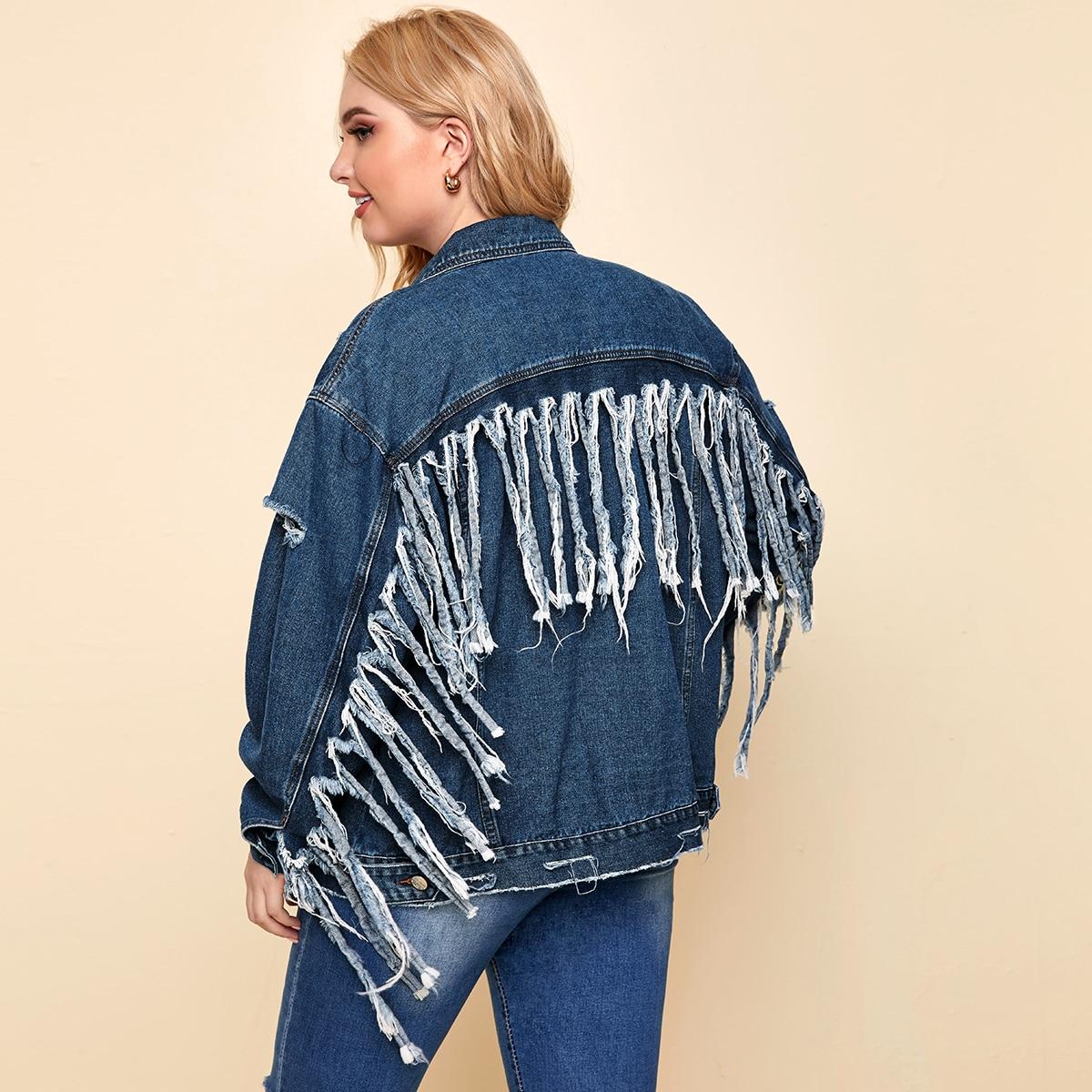 С карманами одноцветный повседневный джинсовая куртка размера плюс