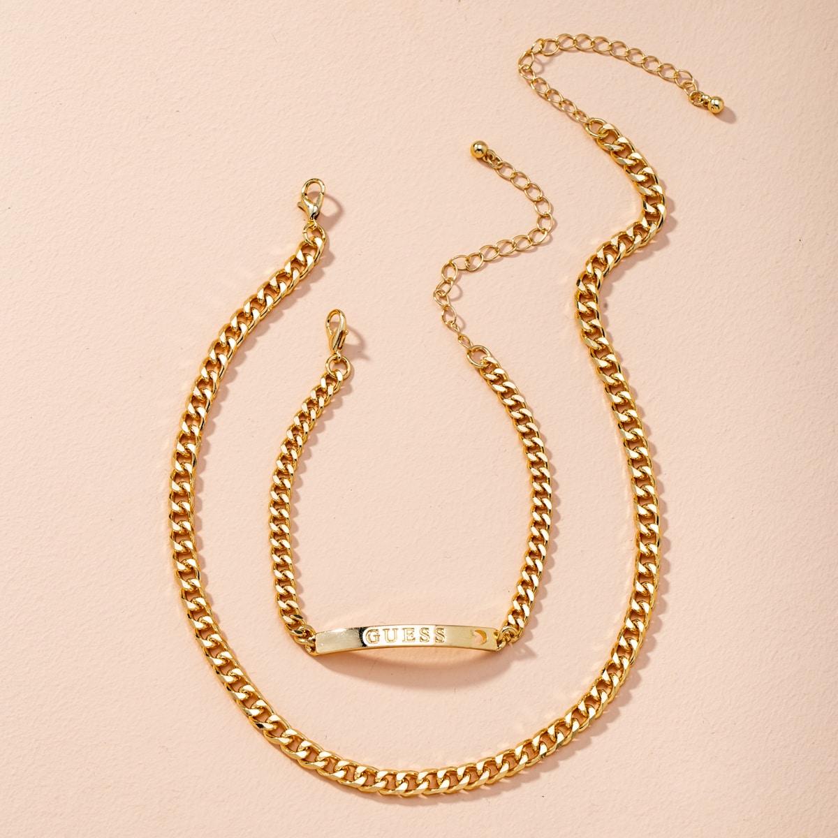 Halskette & Armband mit Buchstaben Dekor
