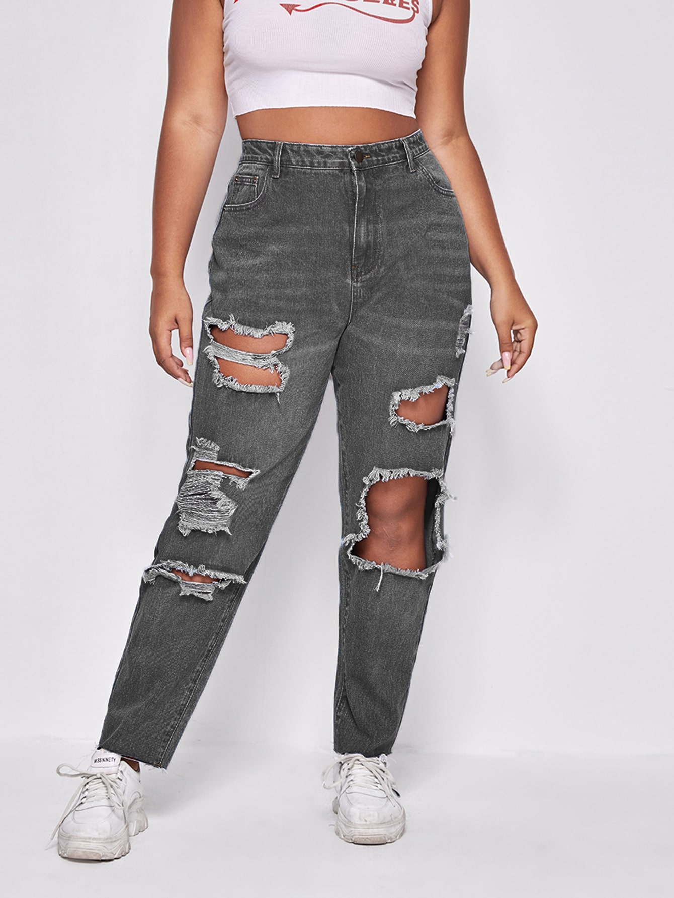 Plus Ripped Detail Mom Fit Jeans thumbnail