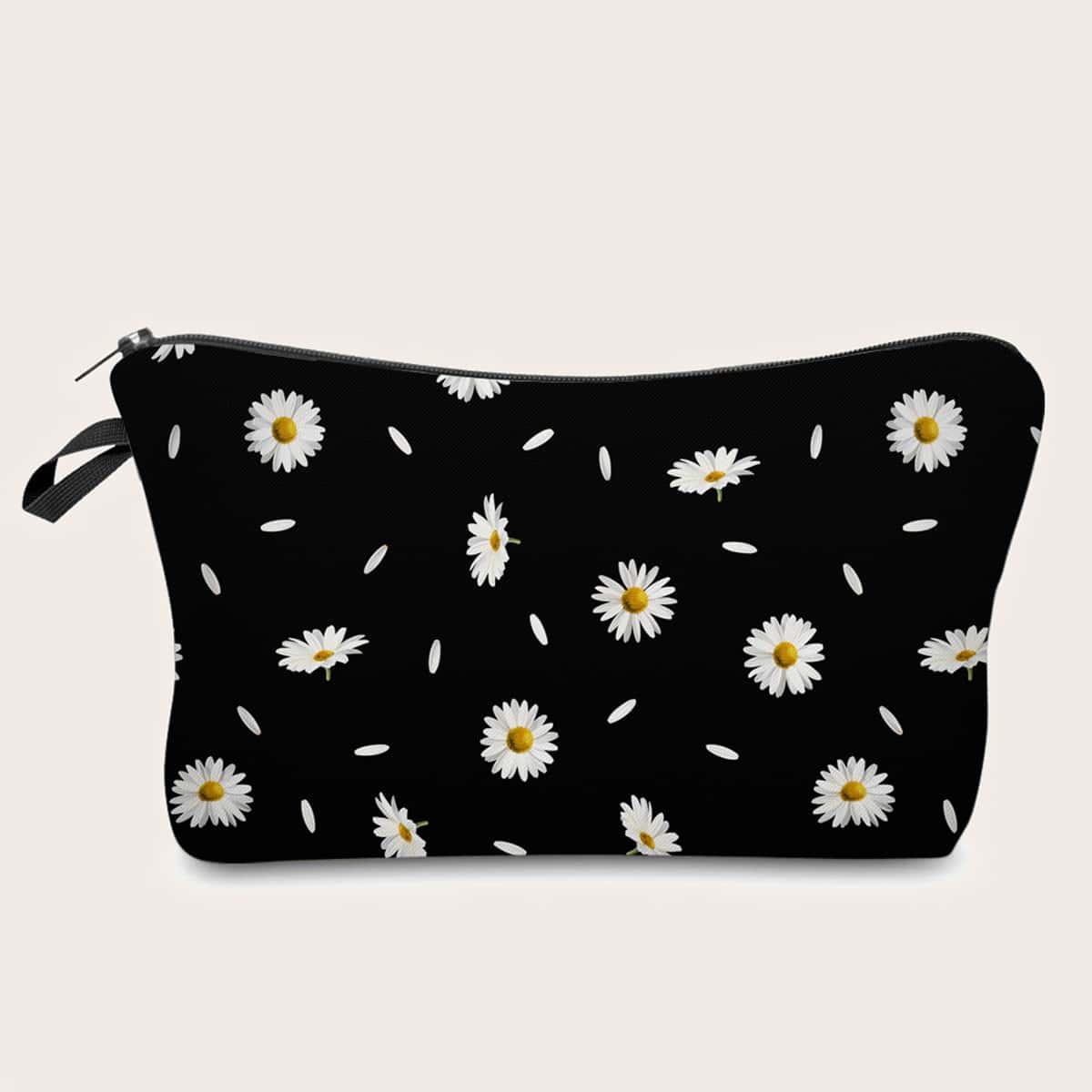 Косметическая сумка с принтом маргаритки