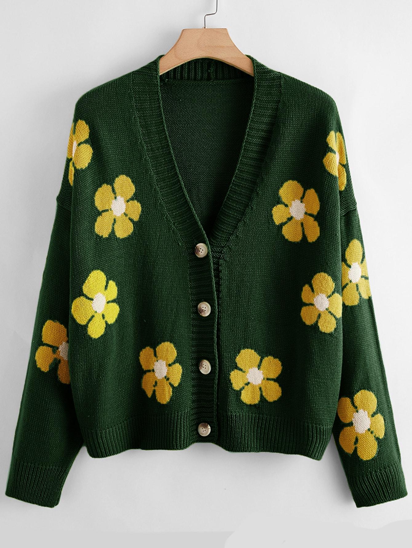 Plus Button Front Floral Pattern Cardigan