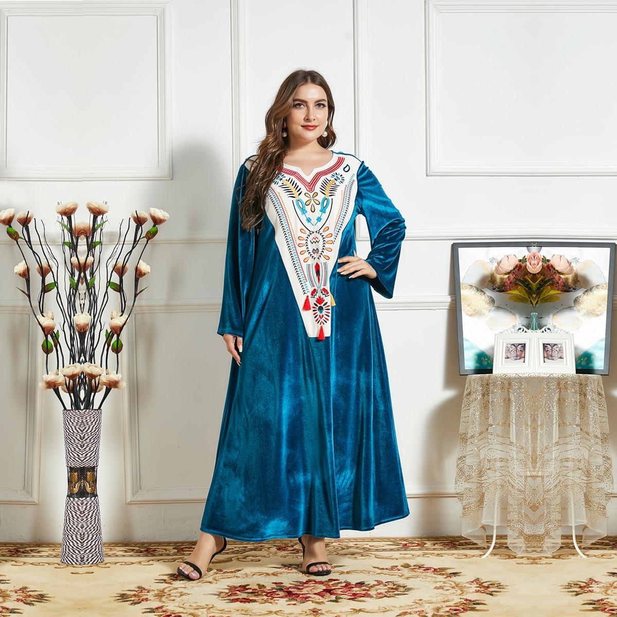 Вышивка Этнический Бохо Платья размер плюс