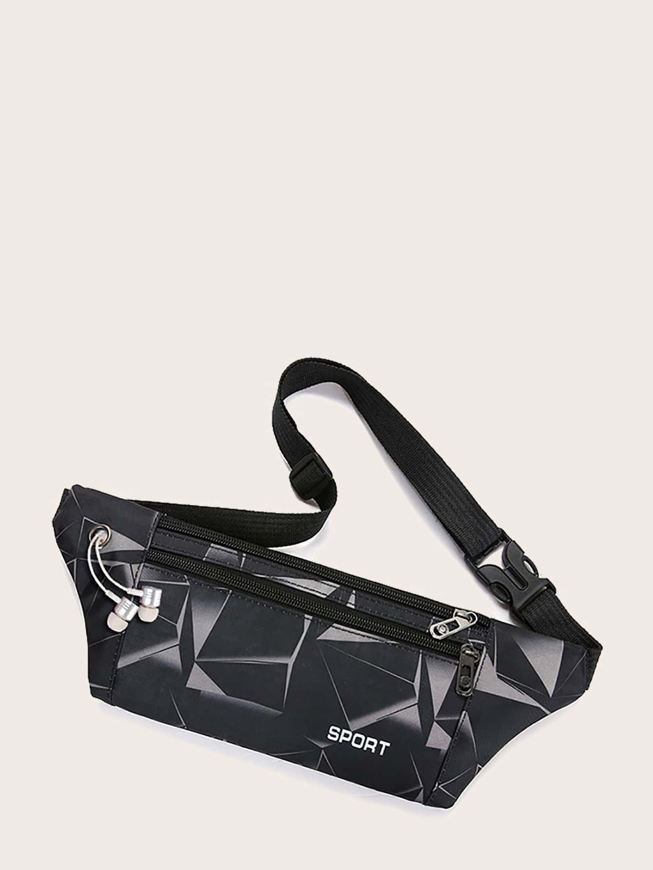 Geometric Graphic Zip Front Fanny Pack thumbnail