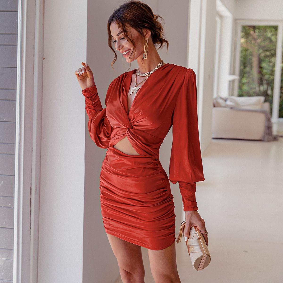 Twist Front Ruched Satin Dress