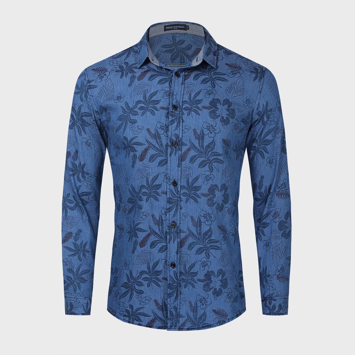 Мужская джинсовая рубашка на пуговицах с лиственным принтом