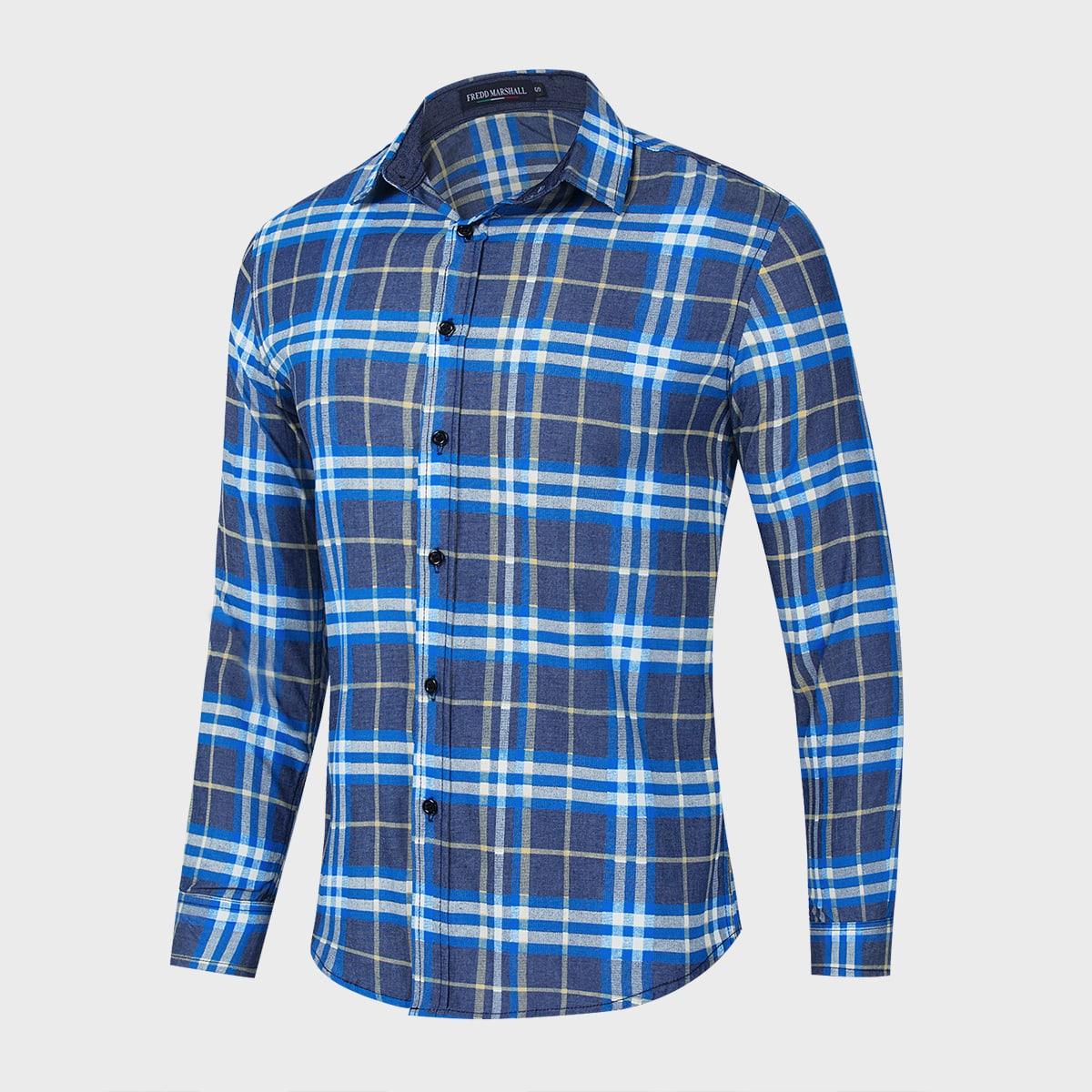Мужская джинсовая рубашка на пуговицах в клетку