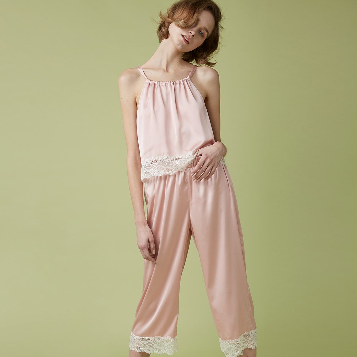 Контрастные кружева Контрастный цвет Повседневный Ночная пижама