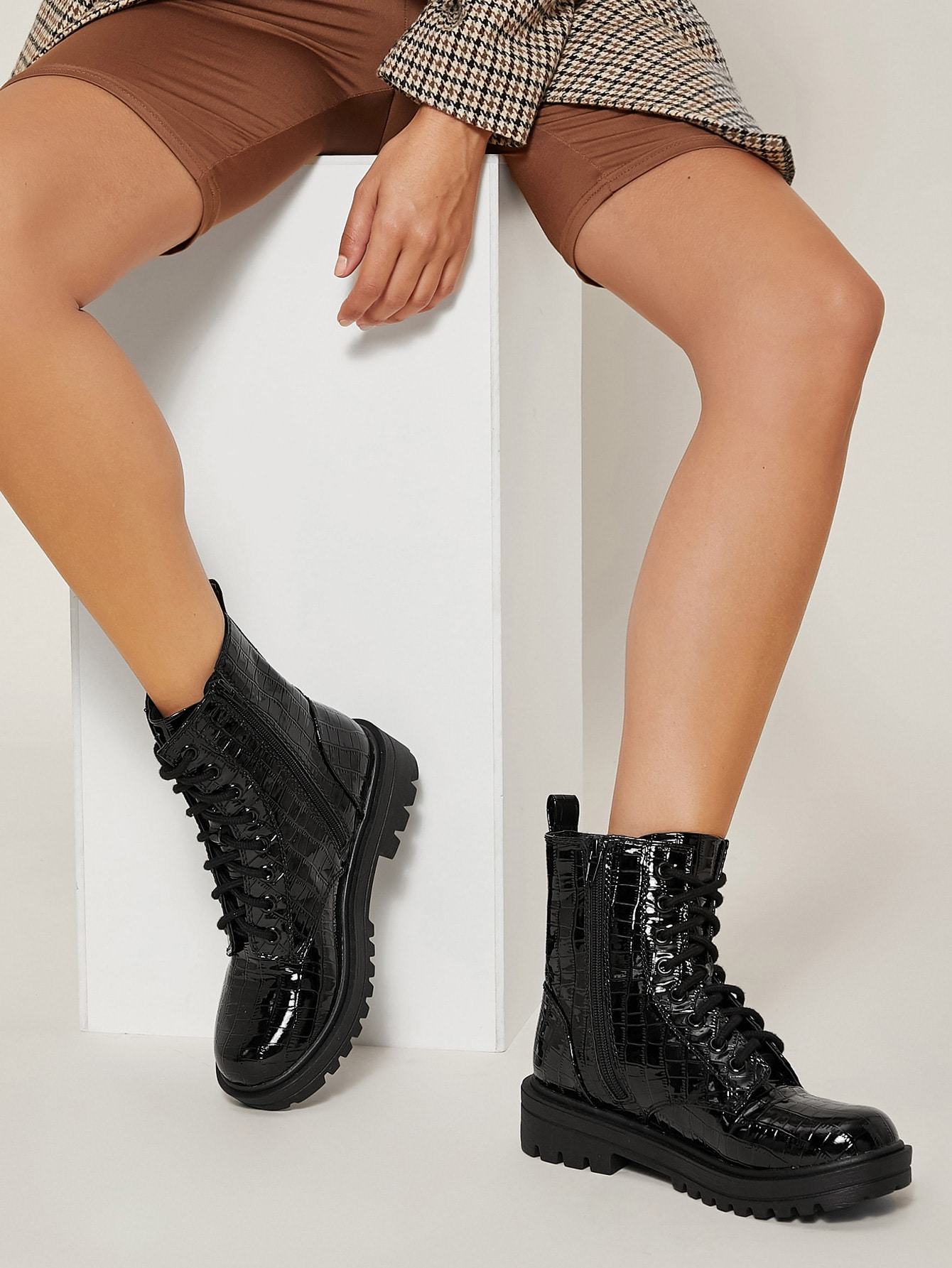 Croc Embossed Faux Patent Leather Boots