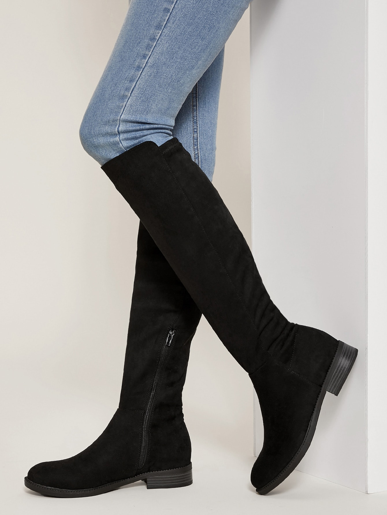 Faux Suede Over The Knee Low Heel Boots
