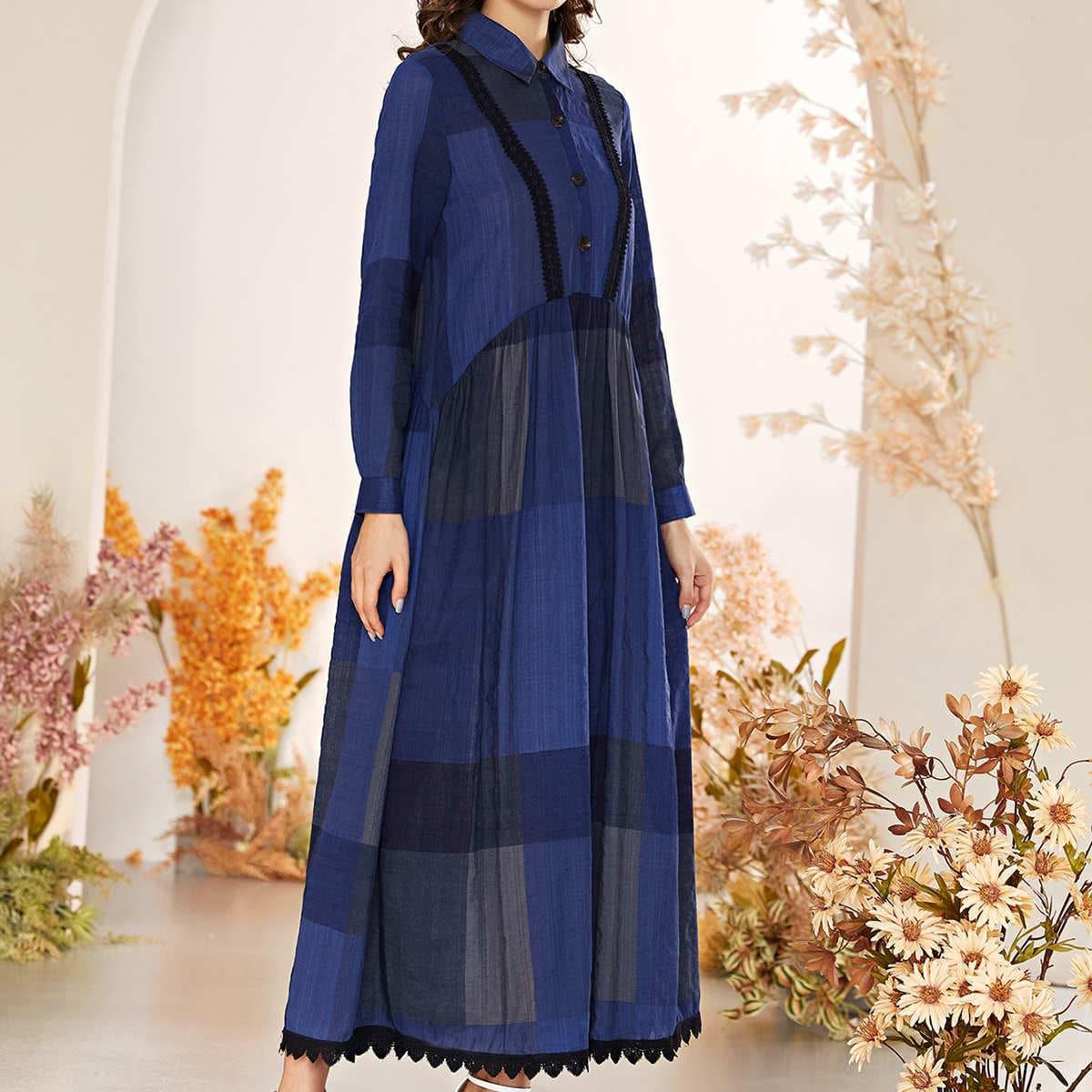 Контрастные кружева Контрастный цвет Скромный Платье