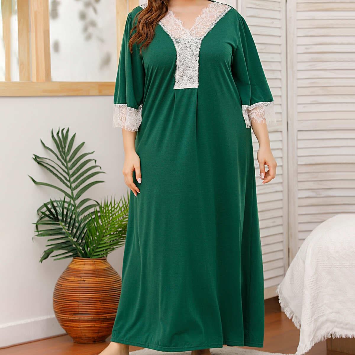 Контрастные кружева контрастный цвет элегантный ночная рубашка размер плюс