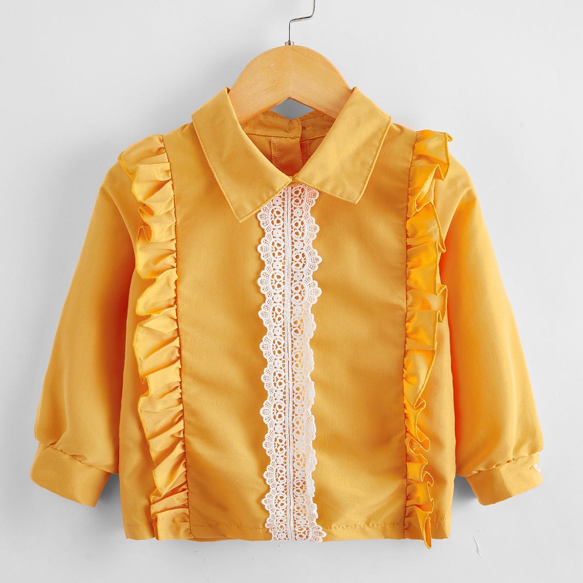 С оборками контрастный цвет повседневный блузы для девочек