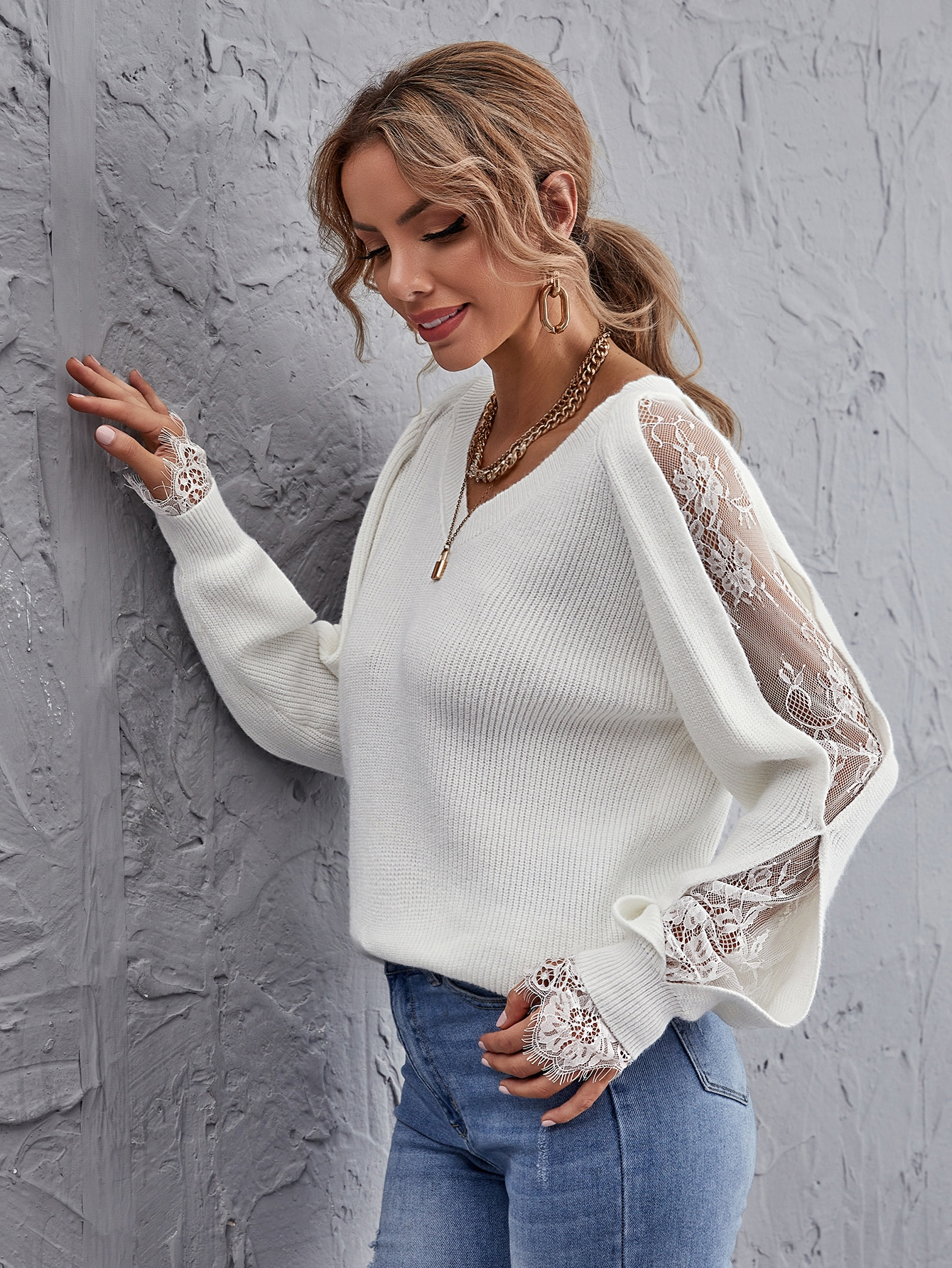 Lace Insert Ribbed Knit Sweater thumbnail