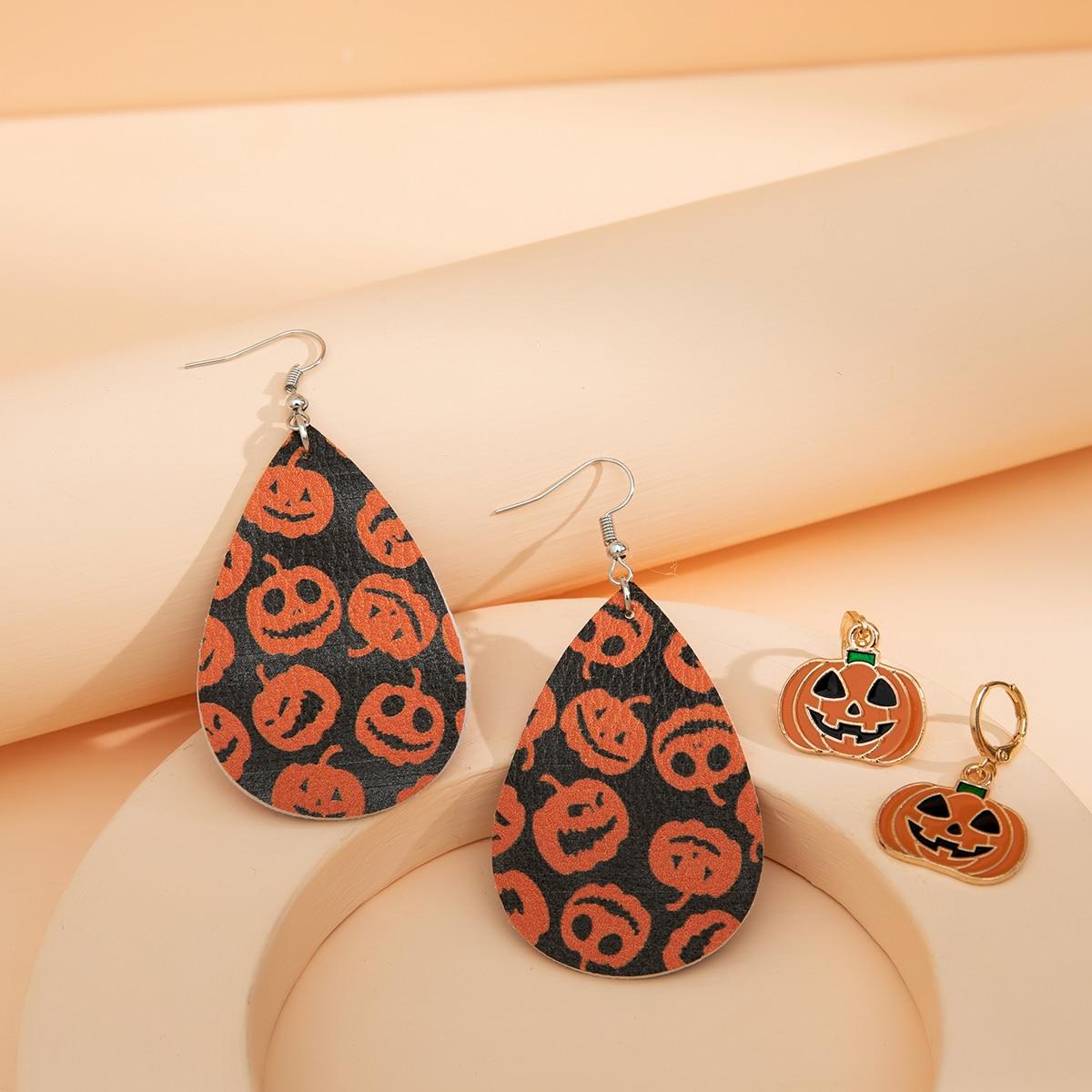 2 пары Хэллоуин серьги-подвески с декором тыквы для девочек