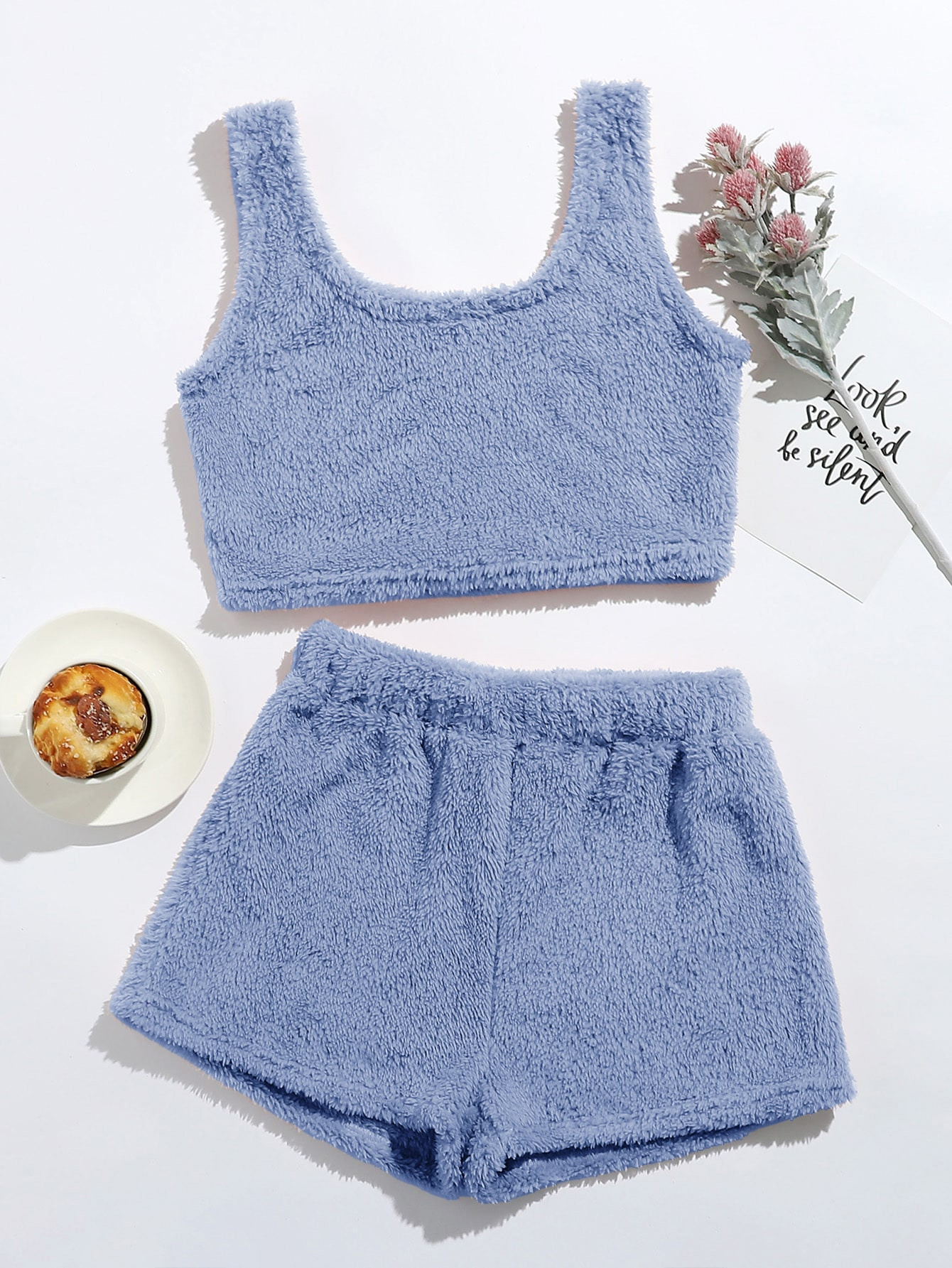 Flannel Crop Tank Top With Shorts Lounge Set thumbnail