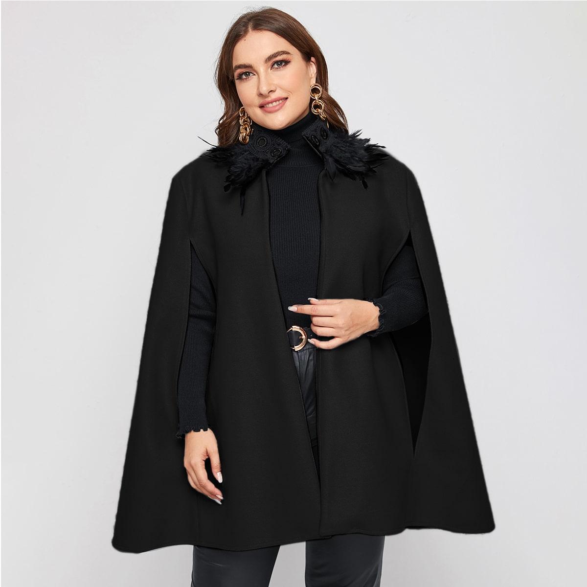 Контрастные кружева Одноцветный Элегантный Плюс размеры пальто